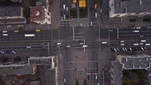 Aerial top view of Modern transportation. Road traffic. Hyperlapse timelapse of car traffic.  transportation concept.
