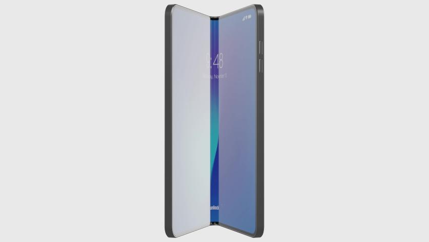 A folding modern smartphone with blank green screen is opening with home screen. Alpha matte included. 4k 60fps UHD Royalty-Free Stock Footage #1063306783