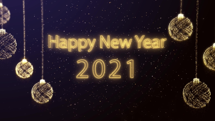 Wonderful Happy New year 2021 Greeting 4K animation With Fireworks - 2021 Happy new year animated text - Two Versions : Gold and silver