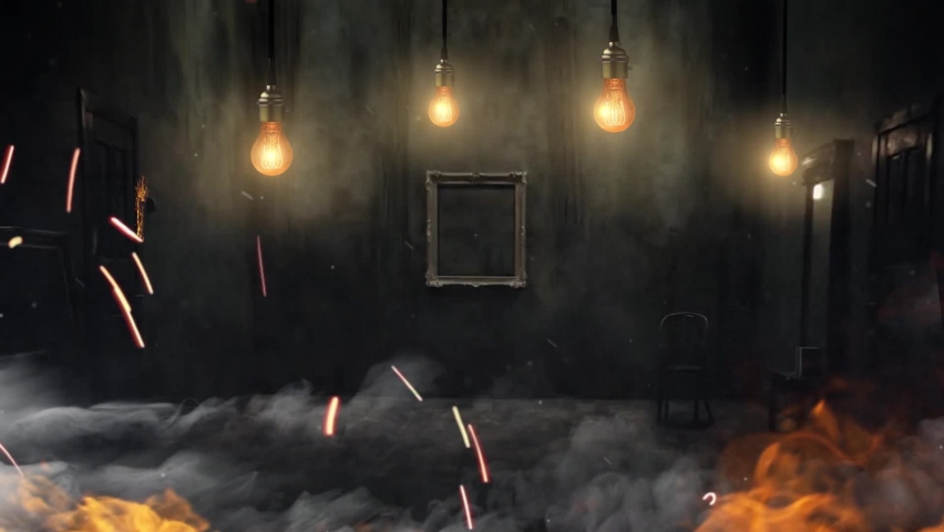 Animation of a dark old vintage room. Swinging incandescent light bulb, vintage dark interior, peeling wallpaper. The scary room is on fire. Fire burns in the room, all furniture is on fire.