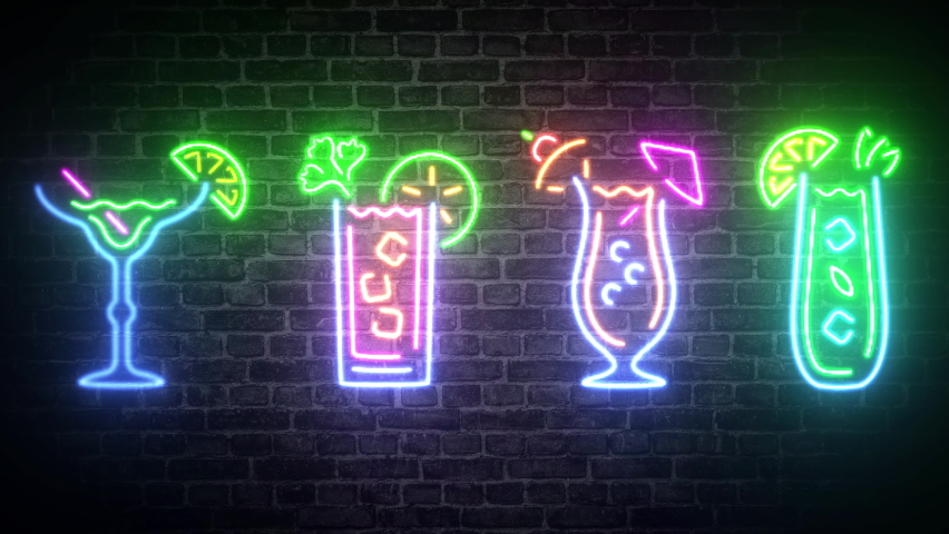 Tropical neon cocktail drink collection ,on brick wall background.Concept of bar,nightclub,dance,party,drink,alcohol, light sign advertising .This is a 4k animation   Shutterstock HD Video #1063323973