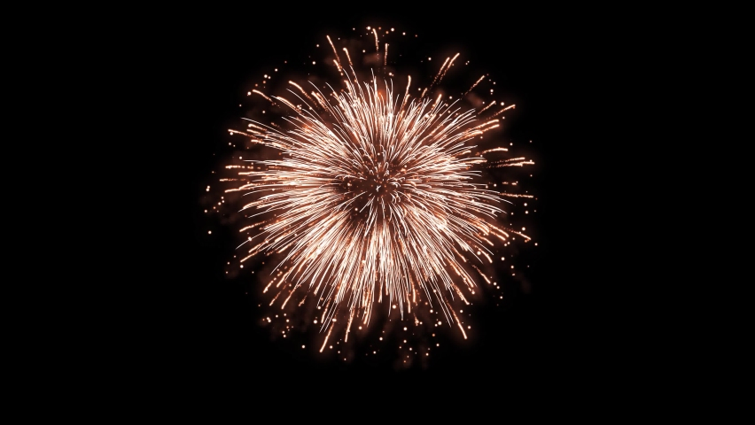 4K. loop seamless of real fireworks background. abstract blur of real golden shining fireworks with bokeh lights in the night sky. glowing fireworks show. New year's eve fireworks celebration. Royalty-Free Stock Footage #1063326619