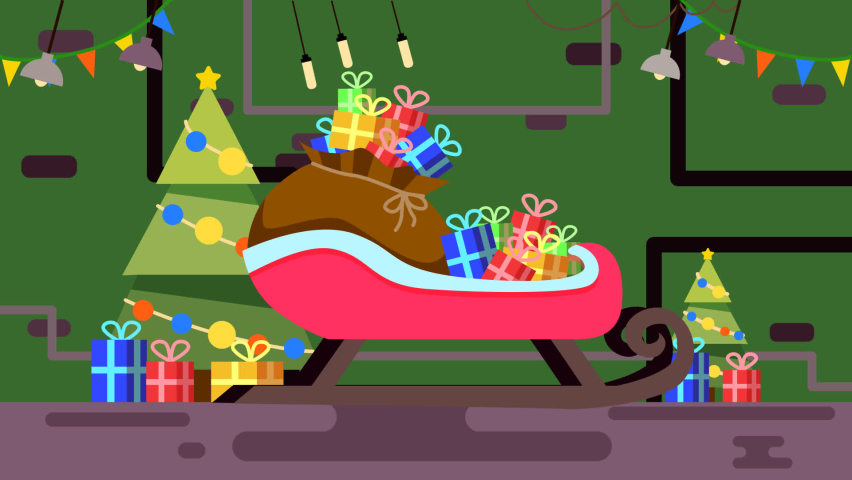 Animation. The Garage Of Santa Claus. Sleigh, gifts . You can replace the background with a single color. | Shutterstock HD Video #1063337371