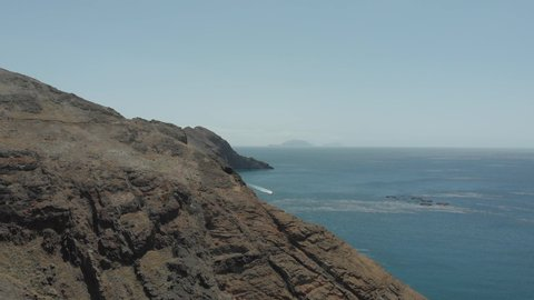 The desert stony Cape of San Lorenzo on the eastern tip of the Portuguese island of Madeira in the Atlantic Ocean