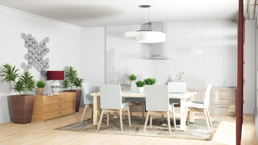 Interior dining area. 3d illustration | Shutterstock HD Video #1063345915