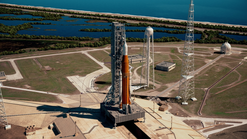 Big heavy rocket (Space Launch System) on launchpad. Full 3D animation. 4K. Ultra high definition. 3840x2160.