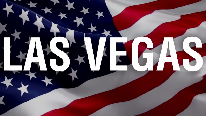Vegas city text with USA map flag video waving in wind. Waving Flag United States Of America. USA flag for Independence Day, 4th of july US American Flag Waving 1080p Full HD footage. Las Vegas USA Am | Shutterstock HD Video #1063362766