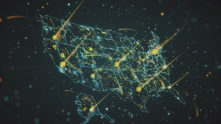Flashing highlighted USA Map with glowing areas and interstate light connections. Scanning of USA Map through hi-tech futuristic sight and visuals with connecting light points and lines. Royalty-Free Stock Footage #1063377589