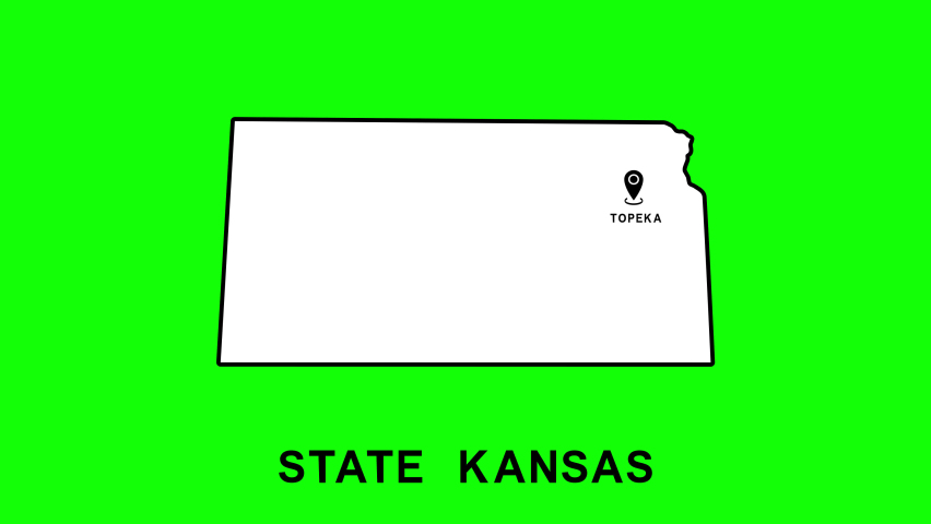 Kansas State of USA with pointer in capital city Topeka. Animated close up map of Kansas highlighted from map of USA. Zoom showing of state for elections, social information, news. 4K, Alpha channel.