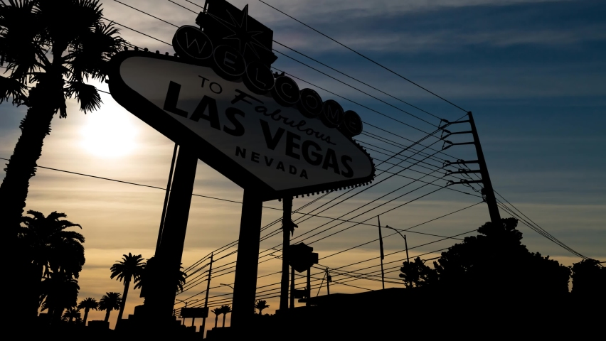 Las Vegas Billboard in Silhouette, Time Lapse at Sunset, Nevada USA | Shutterstock HD Video #1063378750