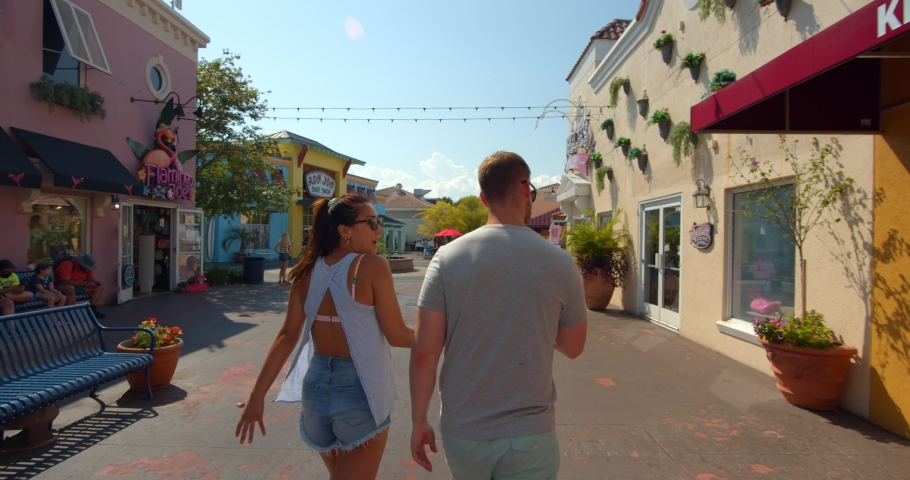 Myrtle Beach, South Carolina, United States - August 17, 2020: Couple at Broadway at the Beach, Myrtle Beach