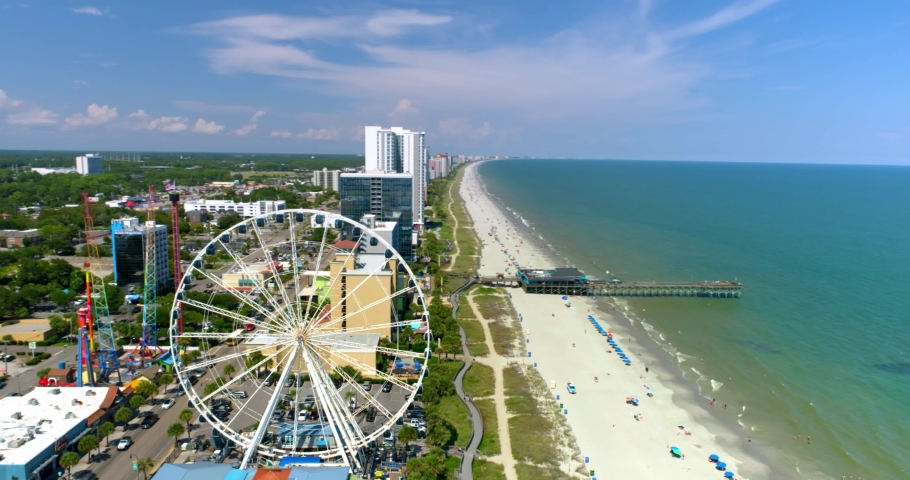 Myrtle Beach by Aerial Drone, Skywheel, Tourists, 4K