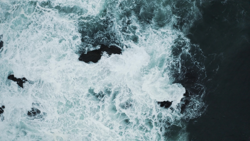 Aerial Drone Fly over Big Waves Crash on the Shore Rain and Strong Wind Weather Winter Season Black Sea Wate