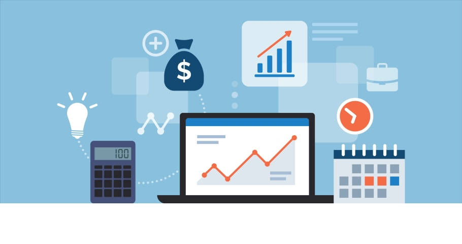 Business desktop with laptop, icons and financial app, finance and management concept Royalty-Free Stock Footage #1063404973
