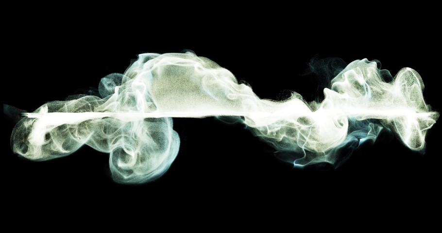 Color smoke or vapor on black background. 4K loop motion background, light strokes visual element. Abstract neon fire, smoke, wisp in fluid waves. great for logo or compositions. 3D render