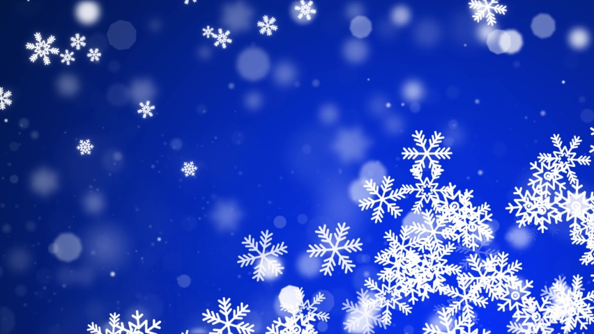 Heavy snowfall, snowflakes in different shapes. Many Blue cold flake elements background. White snowflakes flying in the air. 2020 New year, merry christmas, Holiday, winter, New Year, snow, festive | Shutterstock HD Video #1063445224