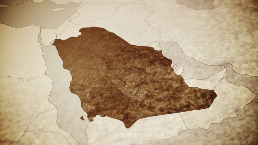 Vintage map showing Middle East, Saudi Arabia. From above zooming in.