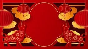 Chinese new year 2021 year of the ox , red and gold paper cut art, lanterns and asian elements with craft style on background. Happy new year. 4K loop video animation with copy space.