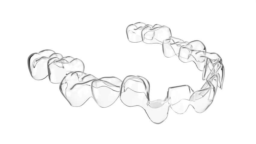 Removable and invisible aligner over white background Royalty-Free Stock Footage #1063454776