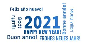 Video animation of a word cloud with the message happy new year in blue over white background and in different languages - represents the new year 2021
