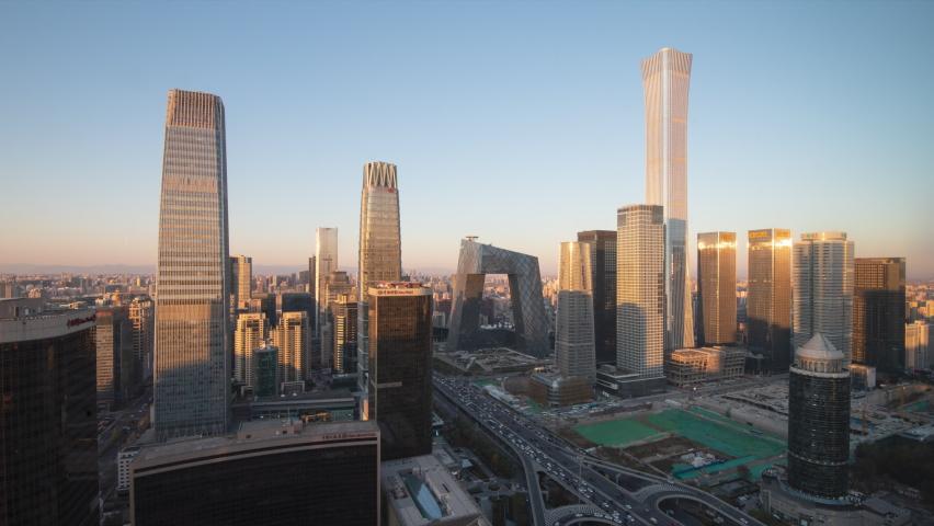 Timelapse.Beijing Landmark. Urban Skyscrapers at Sunset with Traffic Flow,China.