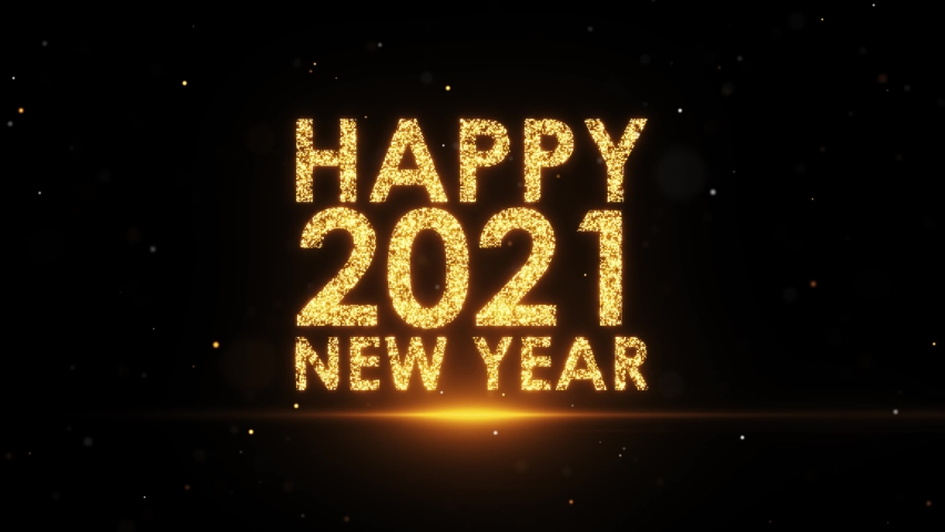 Golden 2021 New year 10 Count down 4K animation on Black background - Golden 2021 Happy new year greeting - Happy 2021 New year - TEN countdown  Royalty-Free Stock Footage #1063482577