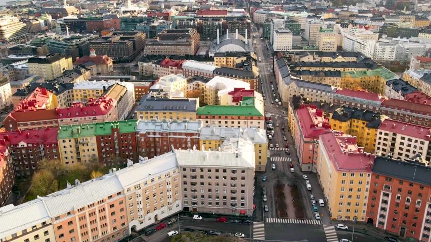 Aerial hyper lapse of helsinki city,finland