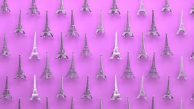Rotating metal eiffel tower seamless looping animated background, Paris travel landmark and touristic romantic symbol of french architecture, urban famous european national historic monument.