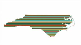 North Carolina US state contour map background vertical rows of colors change tone looped video
