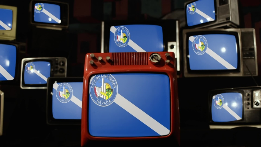Flag of Las Vegas and Vintage Televisions. | Shutterstock HD Video #1063519705