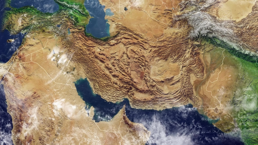 Satellite view of Iran map and borders, physical map Middle East, Arabian peninsula, map with reliefs and mountains. 3d render