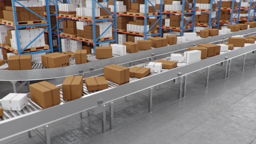 Warehouse with cardboard boxes inside on pallets racks, logistic center. Huge, large modern warehouse. Cardboard boxes on a conveyor belt in a warehouse, loopable seamless. 4K 3D animation. Royalty-Free Stock Footage #1063537060