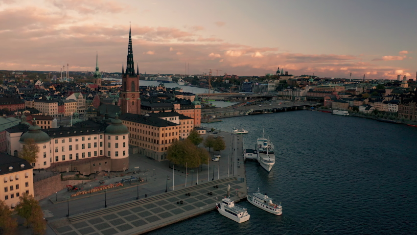 Amazing aerial drone footage of Stockholm City at a beautiful sunset. | Shutterstock HD Video #1063542016