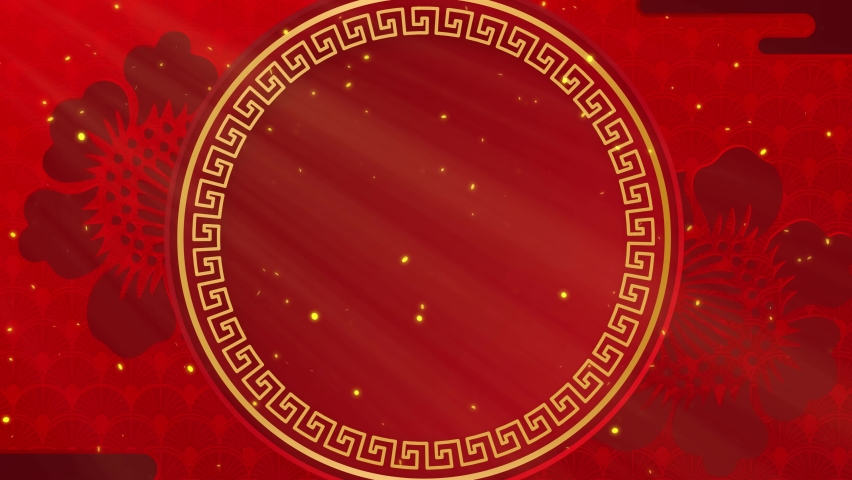 Happy Chinese New Year. Paper cut style. Chinese decorative classic festive background for holiday. Traditional lunar year background with hanging lanterns and flowers. 4K loop with copy space.  | Shutterstock HD Video #1063544167