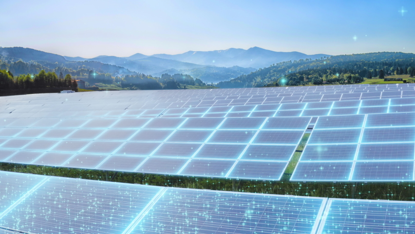 Green Clean Energy Future Of Solar Energy Storage CSP Photovoltaic Infrared Solar Panels Emitting Receiving Photons From Sun Renewable Energy Thin Film Solar Panels Technology High Efficient Cells 4K Royalty-Free Stock Footage #1063558498