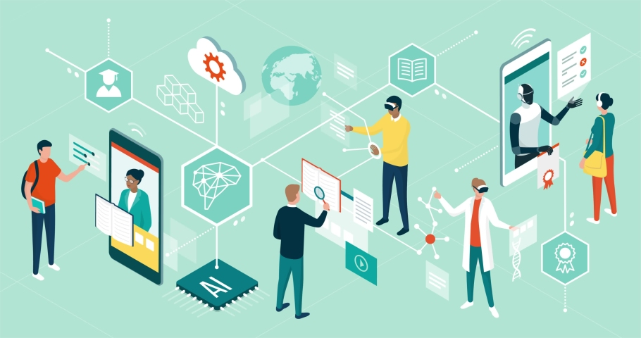 People using innovative technologies for education, attending online courses, interacting with virtual reality and artificial intelligence Royalty-Free Stock Footage #1063558555