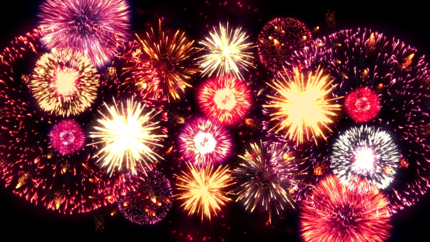 4K. loop seamless of real fireworks background. abstract blur of real golden shining fireworks with bokeh lights in the night sky. glowing fireworks show. New year's eve fireworks celebration. Royalty-Free Stock Footage #1063591057