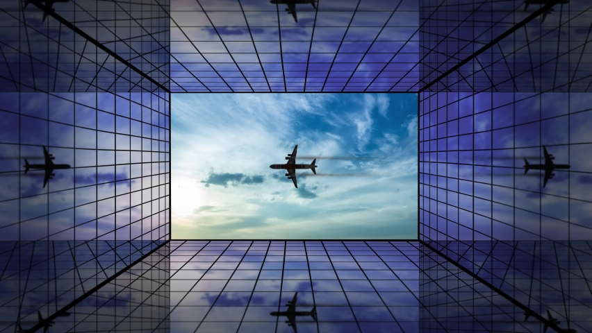 Silhouette of jet in cloudy sky reflected by glass buildings | Shutterstock HD Video #1063608418