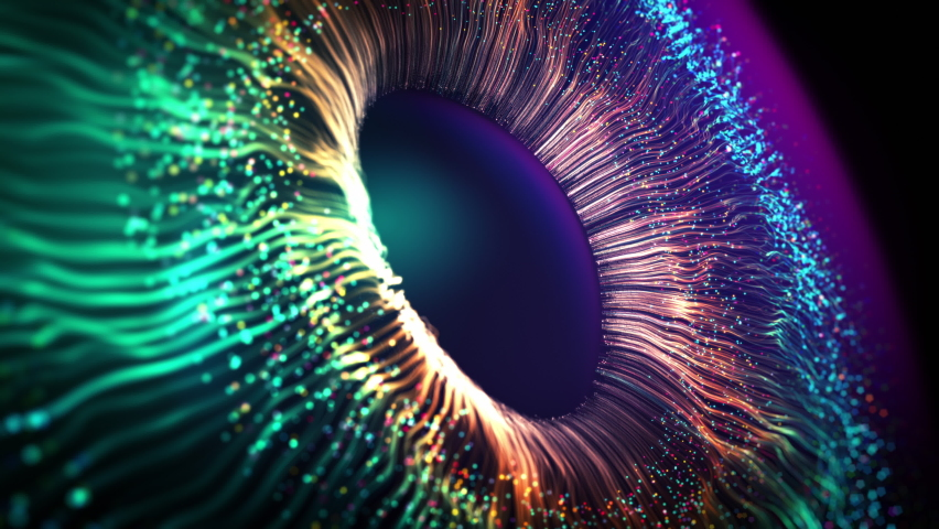Multicolor Bright Explosion Vivid Particles. Animated Future Colourful Gradients Macro Shot. Modern VFX Design Abstraction Form. Colored Opening Eye. Firework Display Footage. New Digital AI Wallpaper | Shutterstock HD Video #1063616035
