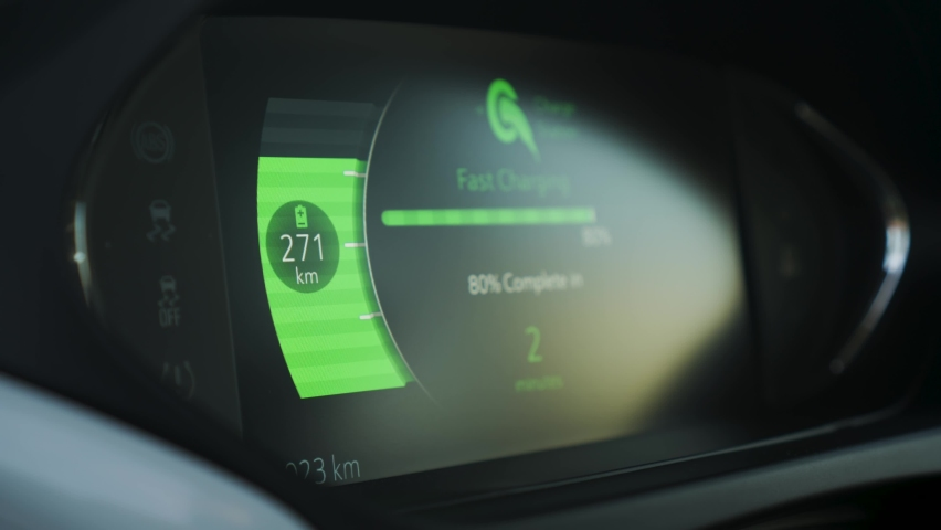 Electric car dashboard view during fast charging when parked at power charging station. Green energy zero emission car car interior view. Long range electric vehicle. Close up shot. Future of cars | Shutterstock HD Video #1063620184
