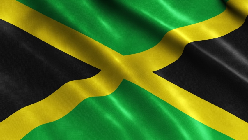 3D Realistic Jamaica Flag Waving in the Wind Continuously. Seamless Loop and High Quality Country Banner Animation. 4K Ultra HD Resolution. Textile Fabric Surface.   Shutterstock HD Video #1063631560