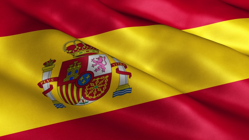 3D Realistic Spain Flag Waving in the Wind Continuously. Seamless Loop and High Quality Country Banner Animation. 4K Ultra HD Resolution. Textile Fabric Surface.