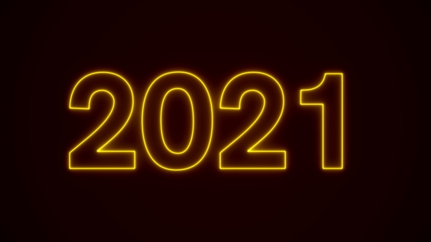 Video animation - abstract neon light in gold-yellow with the numbers 2021 - represents the new year - holiday concept | Shutterstock HD Video #1063633768