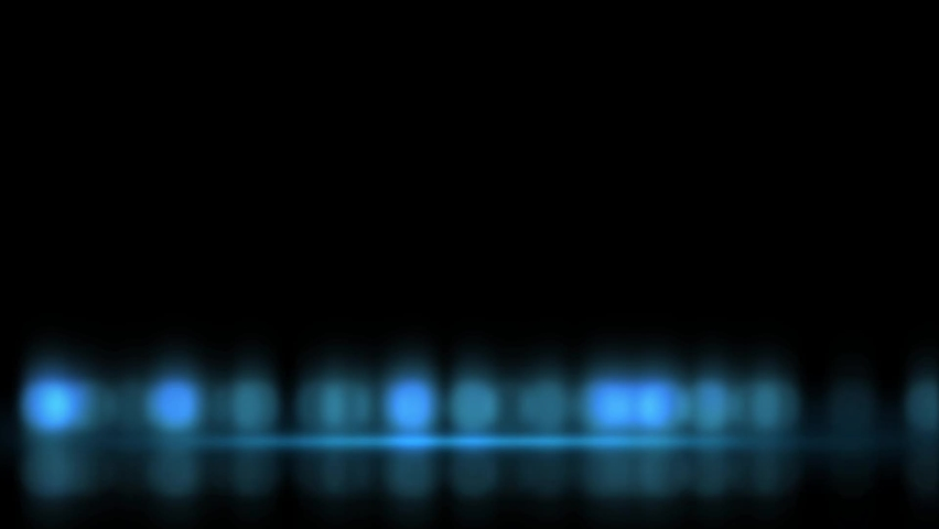 Abstract loopable background with glowing blurred lights reflecting on shiny surface. Blue bokeh effect on black.