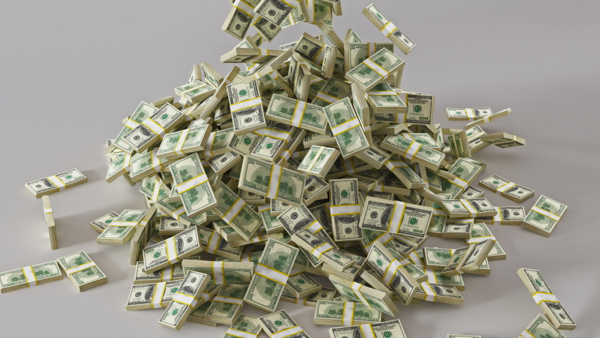 Stacks of money falling from above oh white Background. Stack Of Dollar Bills Falling. Professional 4K 3d rendering animation | Shutterstock HD Video #1063638931