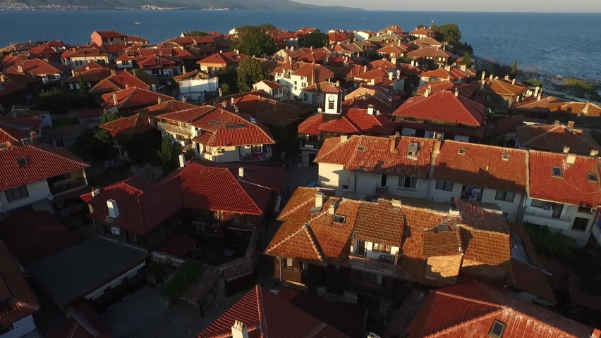 Aerial view of Nessebar, an ancient city on the Bulgarian Black Sea Coast with many buildings.
