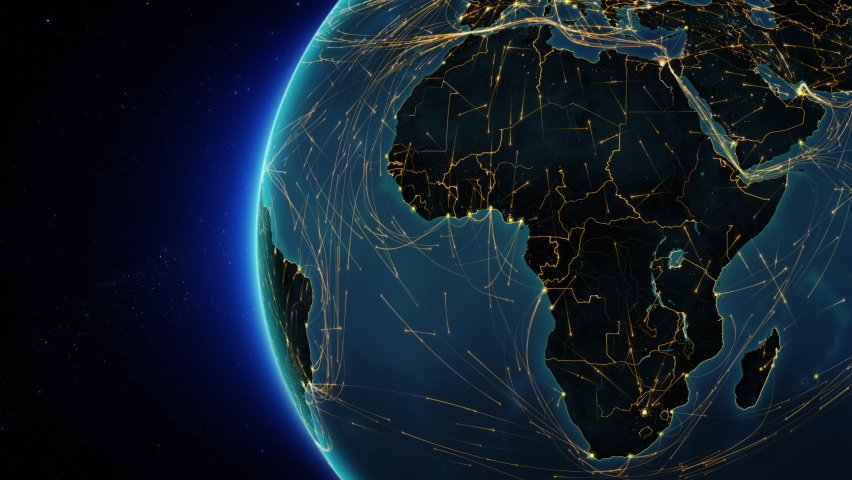 African map with yellow lines. Animation of the Earth with bright connections representing aerial, maritime, ground routes and country borders.