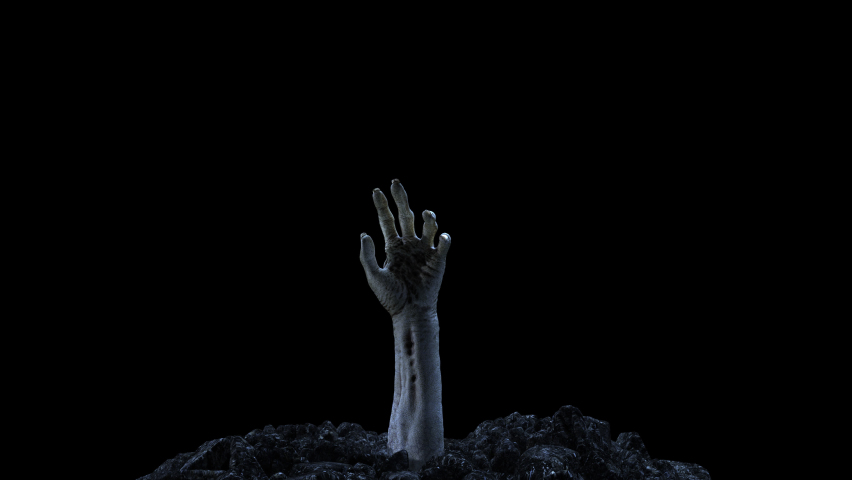 Zombie hand crawling out of the ground with alpha channel