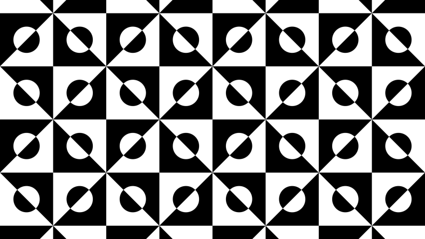 Seamless looping animation footage. Black and white optical illusion. Psychedelic  hypnotic trasformation. Op Art.