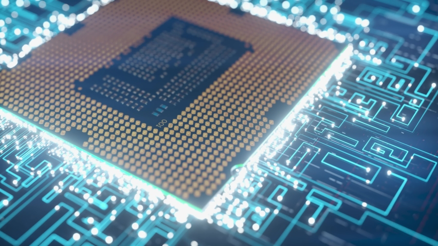 A computer processor with millions of connections and signals. Technology cpu background. Pulses and signals from the chip propagate through the motherboard. 3d animation Royalty-Free Stock Footage #1063655224